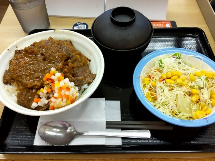 ビフテキ丼(香味ジャポネソース)彩り生野菜セット