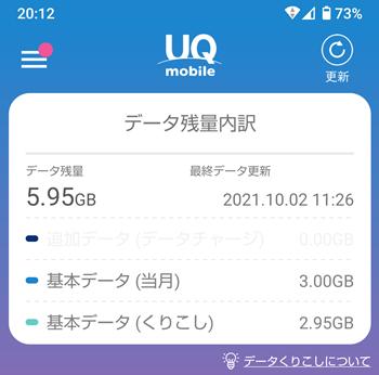 UQモバイル データ繰り越し