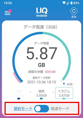 UQモバイル 節約モード